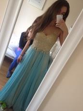 dress,light blue,gold,long prom dress