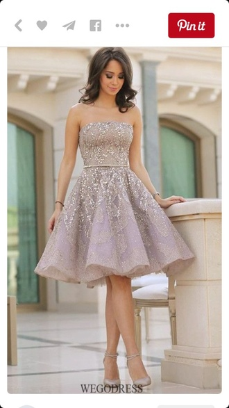 dress strapless knee length dress champagne and lilac short dress strapless dress sparkle knee length a line short prom dress prom dress prom prom gown lace dress diamonds girly girly wishlist homecoming dress homecoming silver purple dress short homecoming dress bustier dress formal dress