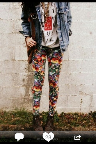 pants flowers denim jacket jacket floral leggings t-shirt jeans hat hipster shirt white idk cute style shoes leggings any
