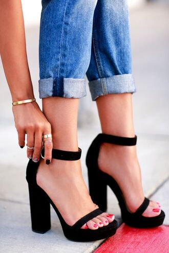 shoes black shoes heels platoforms strappy classy jewels