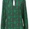 Trina turk geometric pattern blouse, women's, size: medium, green, silk