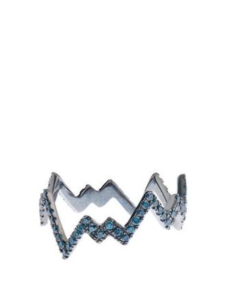 pop art ring gold blue black jewels