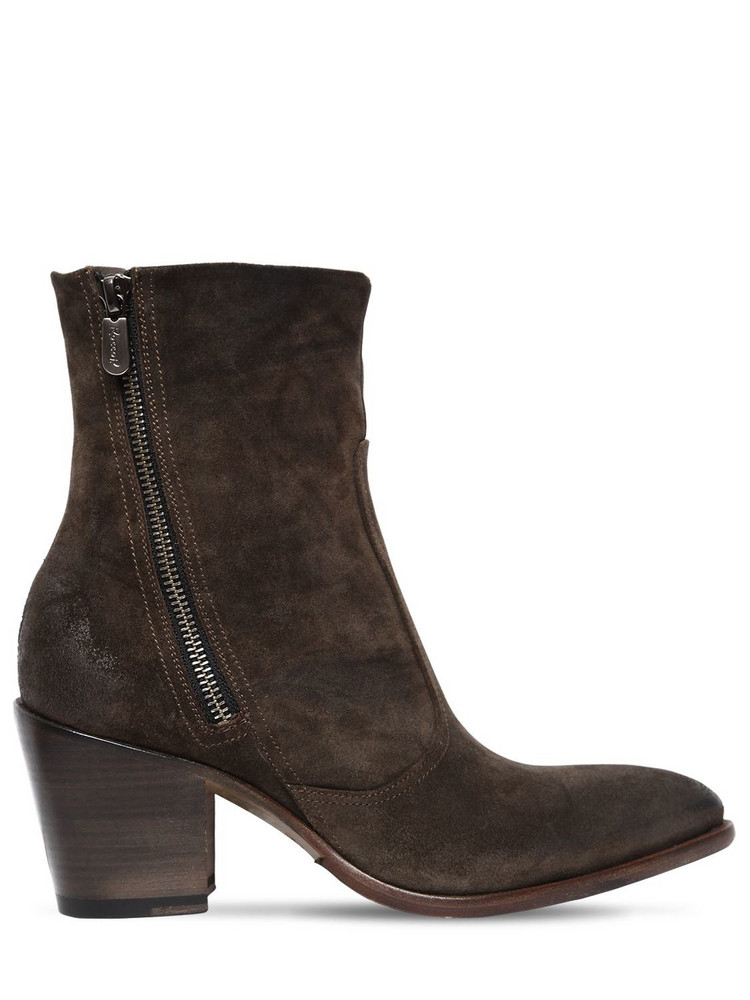 ROCCO P. 60mm Zipped Suede Ankle Boots in green