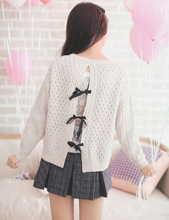 sweater kawaii beige ribbon knitted sweater