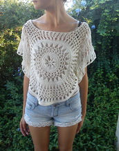 shirt,shorts,lace,knit,crochet,crop tops,see through,summer,cute,blouse,tropical,crochet crop top,beach,boho,white,clothes,lace blouses,t-shirt,beautiful,cover up,cream,top,festival,hippie,lace top