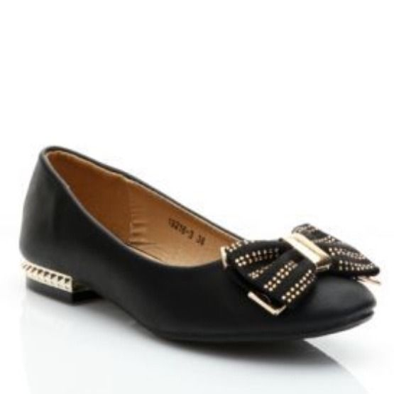 Black Flat Studded Shoes With Gold Spike Dolly Style With Sparkle Bow Stunning | eBay