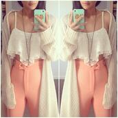 blouse,peach pants,oversized cardigan,cross necklace,pants,sweater,coral,cute,baby,girly,girl,hipster,lovely,High waisted shorts,high waisted pants,coat,jacket,cardigan,oversized,cute outfits,instagram,cartigan,pink,light coral,shirt,crop shirt,oatmeal,jeans,top