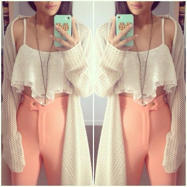 Pants: blouse, coral, cute, baby, girly, girl, hipster ...