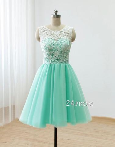 Cute Round neck lace tulle short green prom dress, bridesmaid dress - 24prom