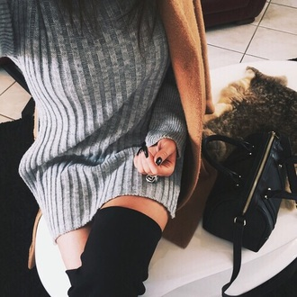 dress grey sweater dress black suede thigh high boots grey classy gorgeous sweater clothes
