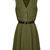 Army Green Sleeveless Chiffon Dress with Button Design