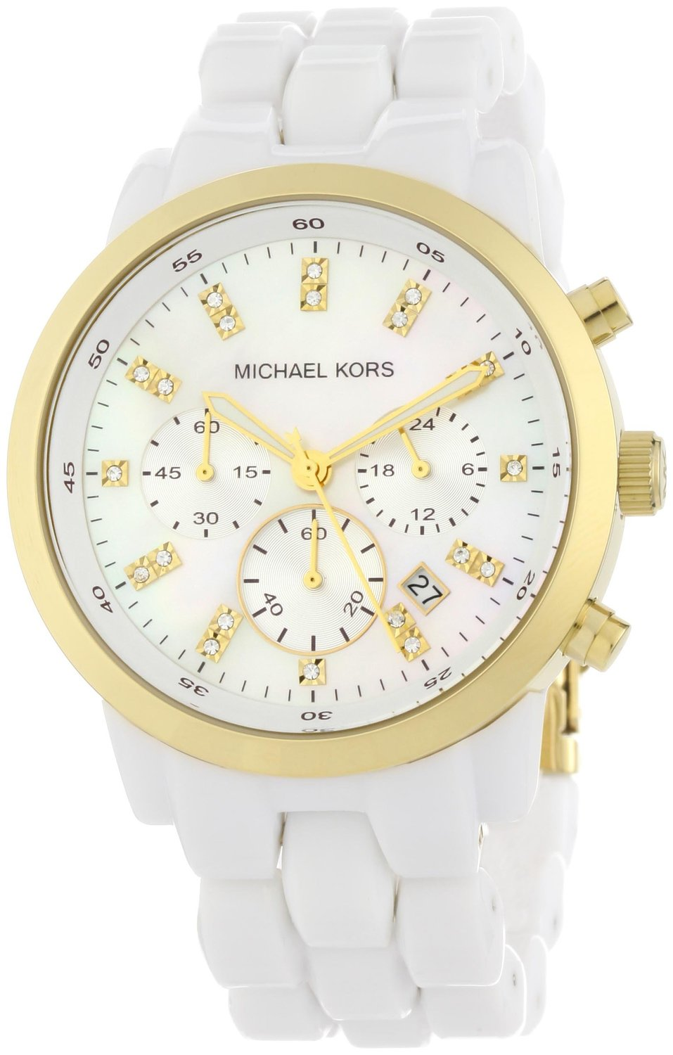 Michael kors ladies chronograph watch mk5218 with white acrylic bracelet strap, gold plated case and white dial: michael kors: amazon.co.uk: watches