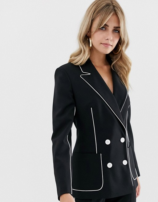ASOS DESIGN suit blazer in mono with contrast piping at asos.com