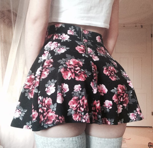 skirt floral girly zip short black skirt black flowers flower skirt