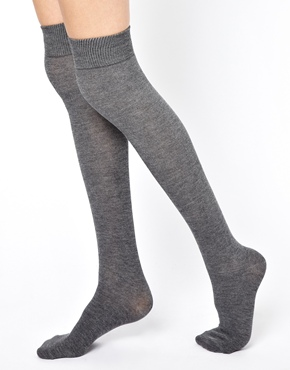 Gipsy | Gipsy Over The Knee Sock in Gray Marl at ASOS