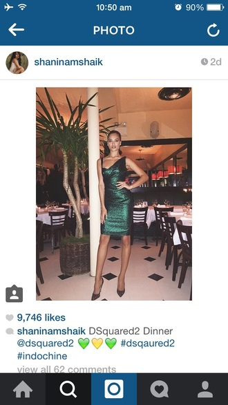 dress shanina shaik emerald green evening celebrity dress dsquared