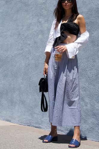 neon blush blogger top pants shoes bag sunglasses jewels