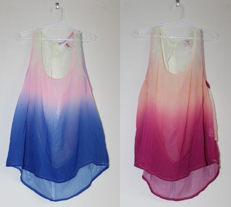 Chiffon Gradient Ombre Open Back Tank Top s M L Pink Blue | eBay