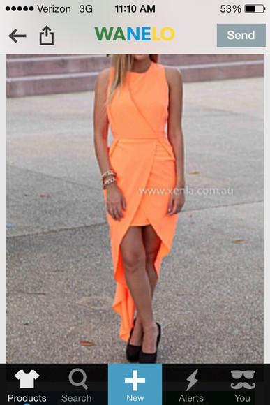high-low dresses homecoming dress orange dress pink dress tight dress