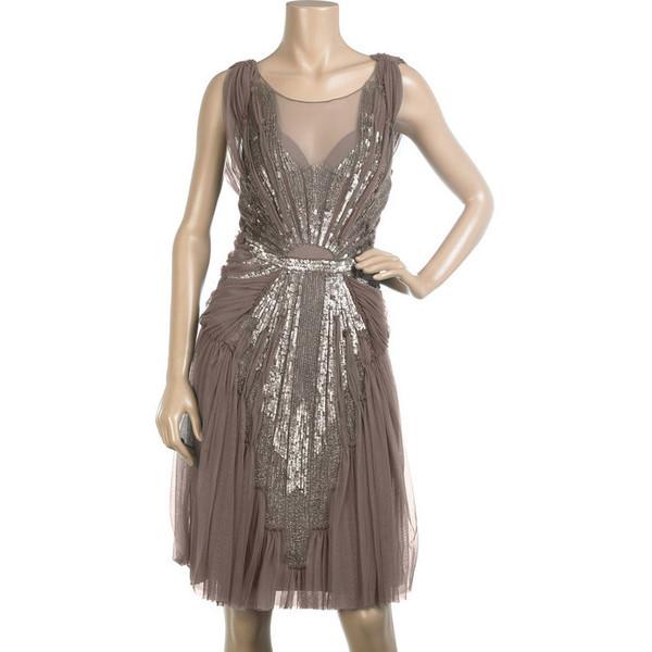 Alberta Ferretti dark purple tulle sleeveless sequin and bea... - Polyvore