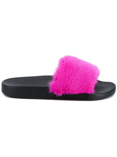 Givenchy fur fox women leather purple pink shoes