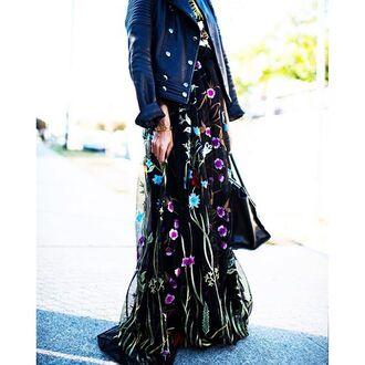 dress tumblr maxi dress floral maxi dress long dress floral dress jacket black leather jacket leather jacket black jacket