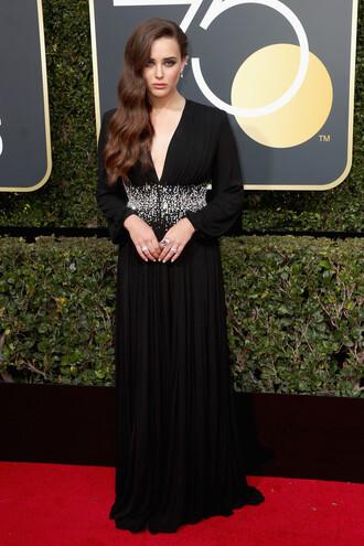 dress gown black dress maxi dress red carpet dress golden globes 2018 katherine langford