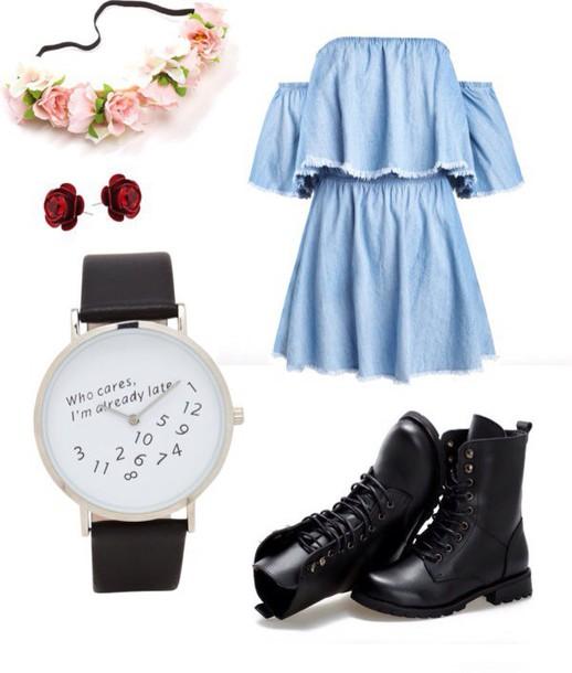 dress blue dress watch shoes boots black pastel headband one direction grunge floral skater boho dress royal blue dress alice in wonderland DrMartens floral skater skirt