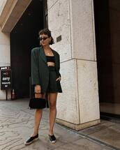 jacket,blazer,top,crop tops,skirt,shoes,espadrilles,bag,sunglasses
