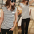 Black White Knit Striped Slim Round Neck T-Shirt : KissChic.com