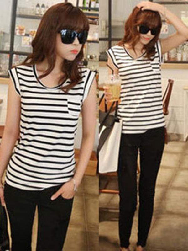 Black White Knit Striped Slim Round Neck T-Shirt : KissChic.com