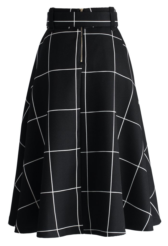 Sway the Plaids Belted Midi Skirt in Black - Retro, Indie and Unique Fashion