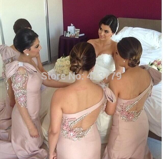 Aliexpress.com : Buy 2015 vestido de festa longo One shoulder Long Sleeve Wedding Guest Dress Beaded Bow Pink Bridesmaid Dresses from Reliable dress clothes suppliers on 27 Dress