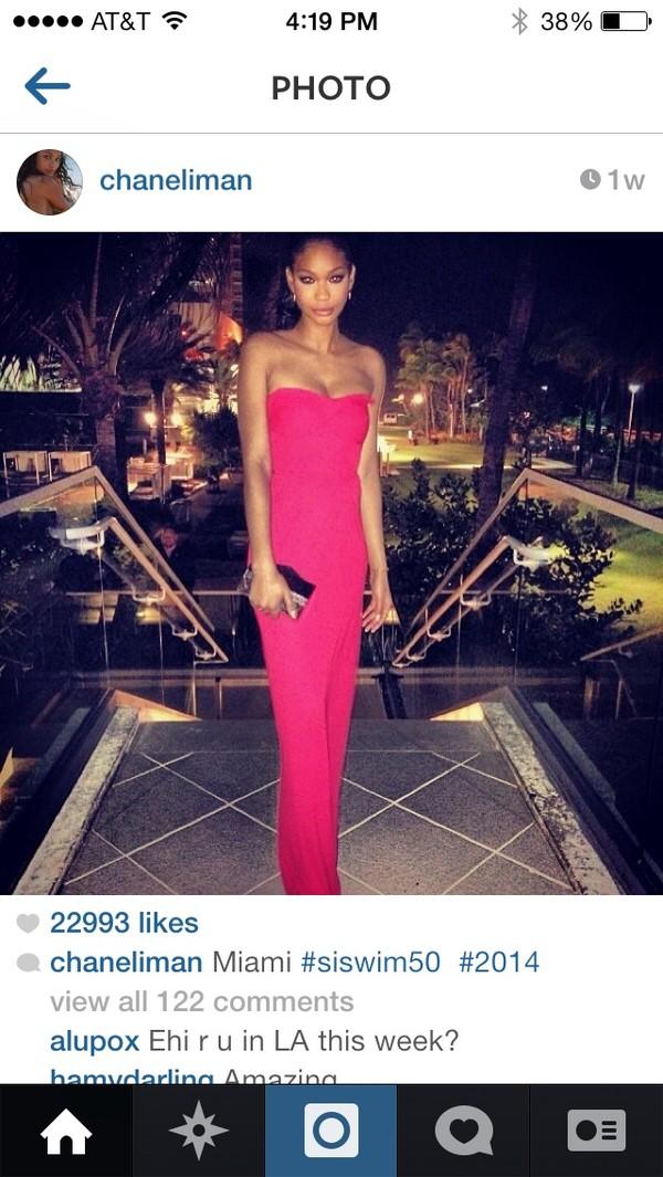 dress chanel iman pink neon prom dress long prom dress