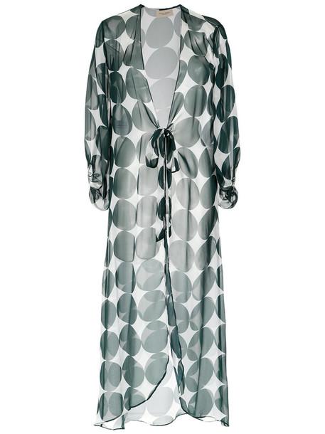 Adriana Degreas kimono maxi women white silk top