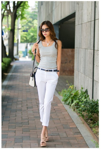 pants white pants tank top grey tank top bag black and white belt sunglasses sandals nude sandals office outfits