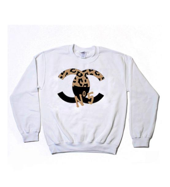 sweater chanel black chanel sweater leopard print oversized white sweater sweatshirt. Black Bedroom Furniture Sets. Home Design Ideas