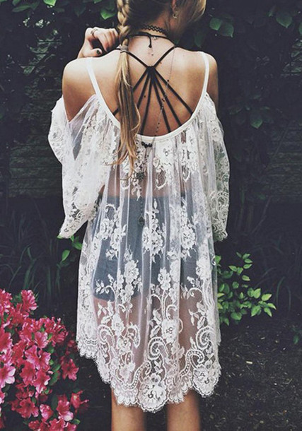 cardigan lace dress lace cardigan white dress white beach summer dress summer summer outfits classy girly t-shirt boho grunge vogue party