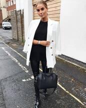 jacket,blazer,white blazer,handbag,flat boots,skinny pants,leather pants,black blouse