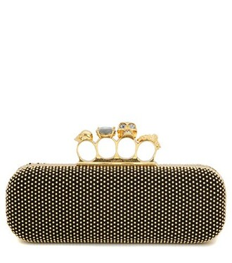 embellished clutch suede gold bag