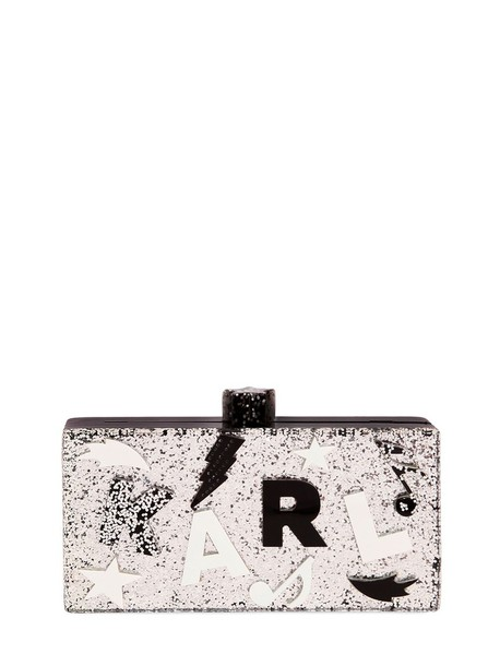 karl lagerfeld clutch silver bag