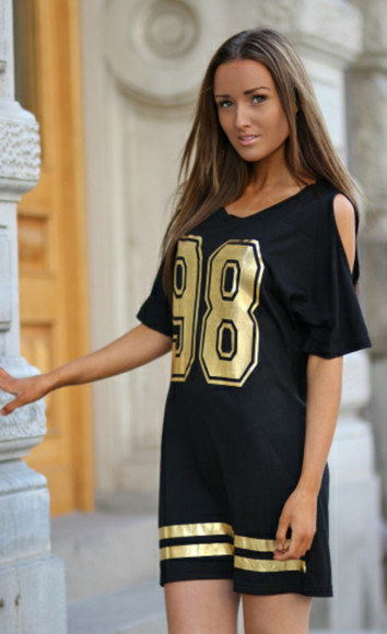 dress black cut-out gold 98 shoulder
