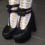 underwear,socks,shoes,emoji print,emjios,heels,yellow,black,chunky sole,chunky heels,emoji socks,lace socks,black heels,black shoes