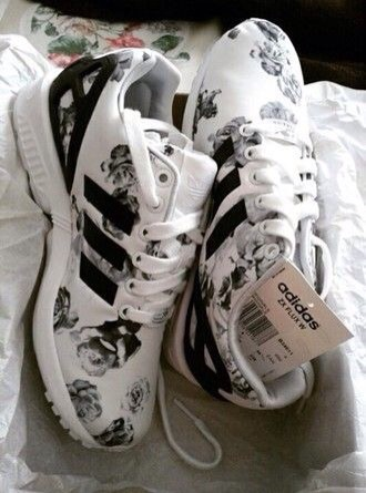 adidas flowers floral sneakers black and white shoes adidas shoes flowered adidas zx flux rose love cute blackandwhite white adidas originals custom shoes