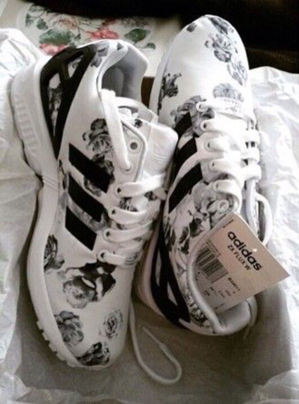 adidas flowers floral sneakers black and white shoes adidas shoes flowered adidas zx flux rose love cute blackandwhite adidas shoes white adidas originals custom shoes