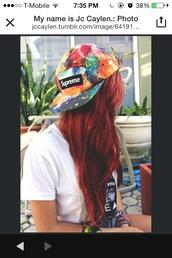 hat,tumblr,supreme,colorful hats