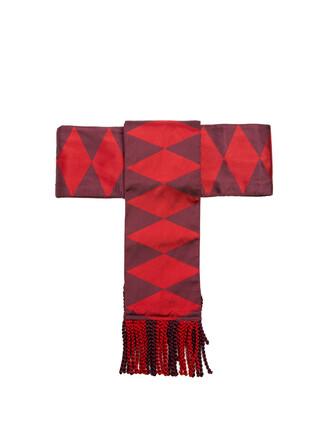 jacquard geometric belt silk red