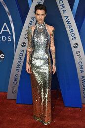 dress,gown,prom dress,red carpet dress,ruby rose,sequins,sequin dress,metallic,maxi dress,cma awards