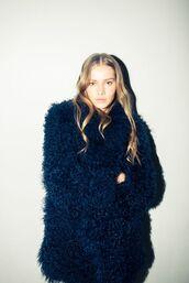 coat,fluffy,fuzzy coat,fall coat,winter coat,blue coat,navy,navy coat,oversized coat,rodarte,designer,blue fluffy coat
