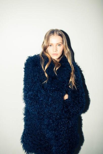 4cbe966d7026 coat fluffy fuzzy coat fall coat winter coat blue coat navy navy coat  oversized coat rodarte